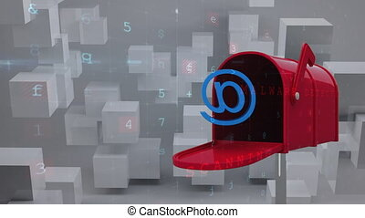 Digitally generated animation of red mailbox with an at email sign and background shows cube patterns and codes