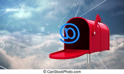 Digitally generated animation of red mailbox with an at email sign and background shows sky and clouds