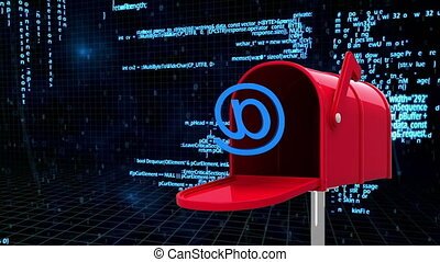 Digitally generated animation of red mailbox with at email sign and background shows digital infomation.