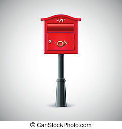 Red mailbox hanging on the wall, postal horn. - Red mailbox...
