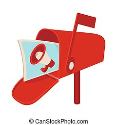 Red mailbox icon with megaphone poster, cartoon
