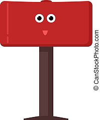 Red mailbox, illustration, vector on white background.