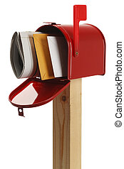 Red Mailbox - Mailbox with Letters and Newspaper Isolated on...