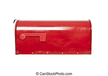 Red mailbox on white with flag - Retro mailbox on white with...