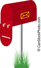Red mailbox standing in the grass