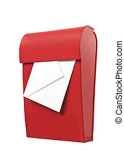 Red mailbox with mail in it isolated on a white background