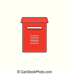 Red Mailbox Support Vector Outline Icon Illustration
