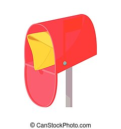 Red mailbox with mail icon, cartoon style