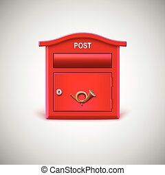 Red mailbox with the postal horn. Vector icon.