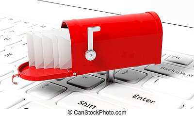 Red mailbox with with envelopes on white laptop keyboard