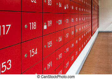 Red mailboxes locker - Perspective of red mailboxes locker