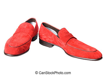 red male leather shoes isolated on white