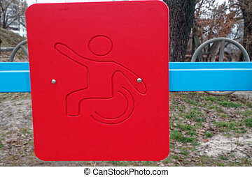 Red man symbol on sports ground, crossfit background