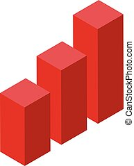 Red manager graph chart icon, isometric style