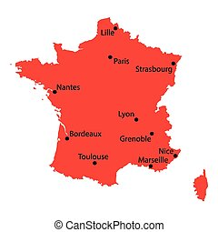 red map of France