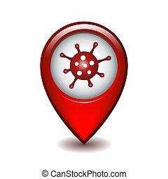 Red map point with coronavirus. Vector iluustration - Red ...