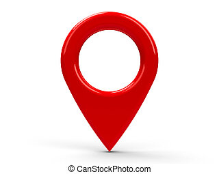 Red map pointer isolated on white background, three-...