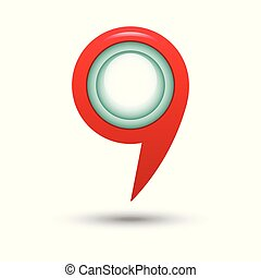 Red map pointers on a white background. Vector illustration