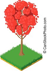 Red maple icon, isometric style