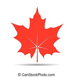 Red Maple Leaf. Vector illustration and icon.