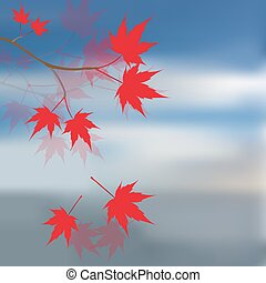 Red maple leaves on the branches. Japanese red maple against the blue sky and sea. Landscape. illustration