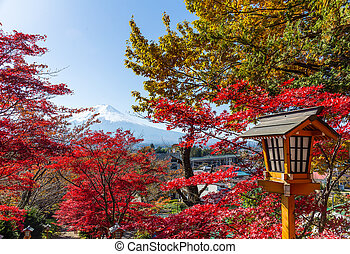 Red maple tree and mount Fuji in Japan