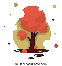 Red maple tree. Isolated vector tree on white background.