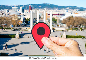 red marker at Montjuic Hill in Barcelona, Spain