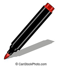 Red marker isolated on white background. Vector cartoon close-up illustration.