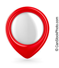 Red marker on white background. Isolated 3D image