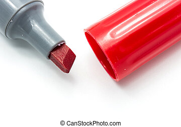 red marker on white background