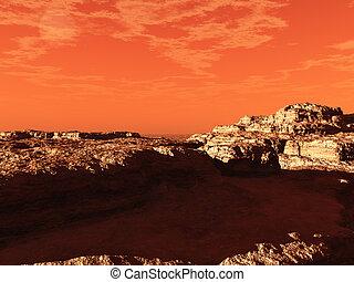 Red martian landscape