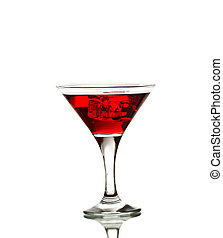 Red martini cocktail with ice cubes