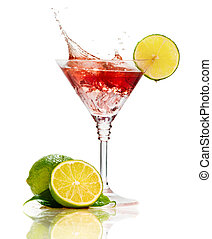 Red martini cocktail with splash and lime isolated on white