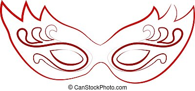 Red mask drawing, illustration, vector on white background.