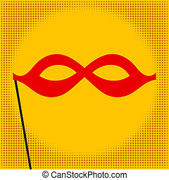 Red mask on yellow background. Pop art. Vector illustration
