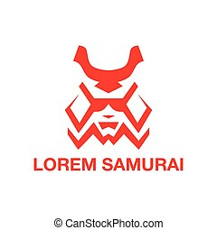 Red mask samurai. Abstract geometric combat logo design.