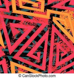 red maze geometric seamless pattern with grunge effect