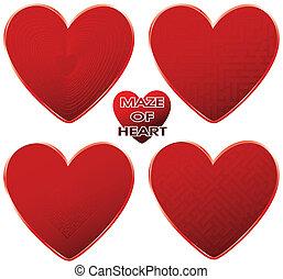 red maze hearts set