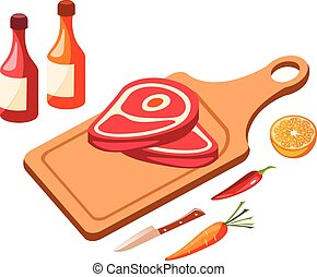 Red meat icon in isometric
