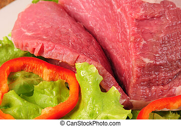 Red meat - Raw meat with vegetables