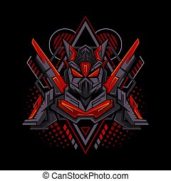 Red Mecha Geometry Style