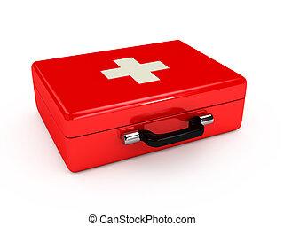 Red medical case over white backgro