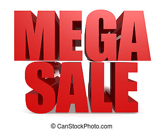 Red mega sale word isolated