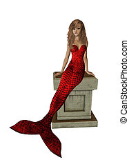 Red Mermaid Sitting On A Pedestal