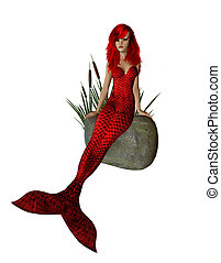 Red Mermaid Sitting On A Rock - Red mermaid sitting on a...