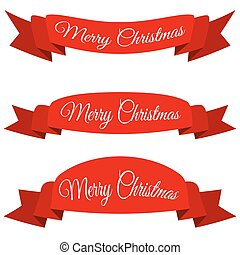 Red Merry Christmas banner. Set of ribbons with text