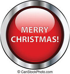 Red merry christmas button with silver border