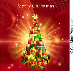 A red background design with a stack or pile of Christmas gifts or presents in the shape of a Christmas tree with a star decoration on the top and the text Merry Christmas