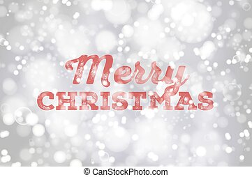 Red Merry Christmas typography on silver bokeh background poster. Christmas lettering on bright defocused lights background